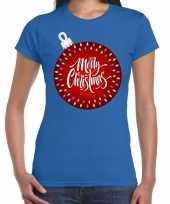 Fout kerst shirt kerstbal merry christmas blauw dames
