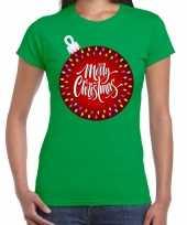 Fout kerst shirt kerstbal merry christmas groen dames