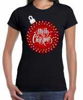 Fout kerst shirt kerstbal merry christmas zwart dames