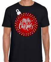 Fout kerst shirt kerstbal merry christmas zwart heren