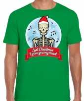Fout kerst-shirt last christmas i gave you my heart groen heren