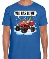 Fout kerst shirt monstertruck santa blauw heren