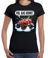 Fout kerst shirt monstertruck santa zwart dames