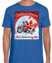 Fout kerst shirt motorliefhebbers hot chicks blauw heren