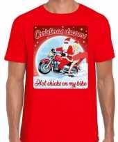Fout kerst shirt motorliefhebbers hot chicks rood heren