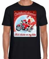 Fout kerst shirt motorliefhebbers hot chicks zwart heren