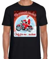Fout kerst shirt motorliefhebbers no presents zwart heren