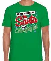 Fout kerst-shirt why santa has a naughty list groen heren