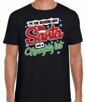 Fout kerst shirt why santa has a naughty list zwart heren