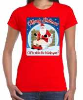 Fout kerst t shirt merry shitmas toiletpaper rood dames