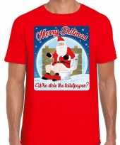 Fout kerst t shirt merry shitmas toiletpaper rood heren