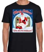 Fout kerst t shirt merry shitmas toiletpaper zwart heren