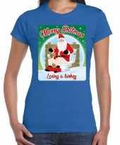 Fout kerst t shirt merry shitmas turkey blauw dames