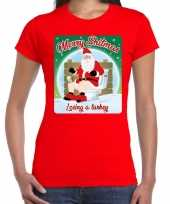 Fout kerst t shirt merry shitmas turkey rood dames
