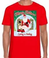 Fout kerst t shirt merry shitmas turkey rood heren