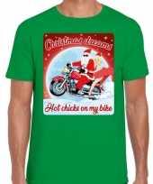 Fout kerst t shirt motorliefhebbers hot chicks groen heren
