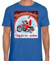 Fout kerst t shirt motorliefhebbers no presents blauw heren