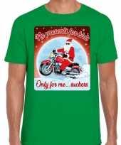 Fout kerst t shirt motorliefhebbers no presents groen heren