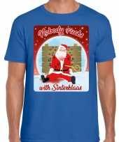 Fout kerst t shirt nobody fucks with sinterklaas blauw heren