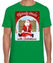 Fout kerst t shirt nobody fucks with sinterklaas groen heren