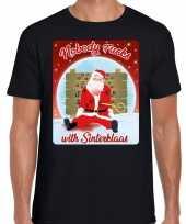 Fout kerst t shirt nobody fucks with sinterklaas zwart heren
