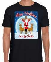 Fout kerst t shirt now i believe zwart heren