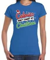 Fout kerstshirt blauw calories dont count christmas dames