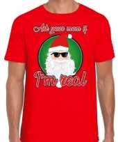 Fout kerstshirt cool santa i am real rood heren
