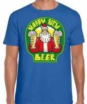 Fout nieuwjaar kerstshirt happy new beer bier blauw heren