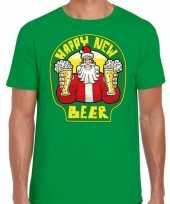 Fout nieuwjaar kerstshirt happy new beer bier groen heren