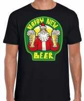 Fout nieuwjaar kerstshirt happy new beer bier zwart heren