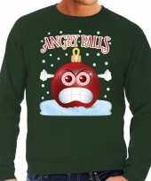 Foute kerst sweater trui angry balls groen heren