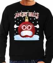 Foute kerst sweater trui angry balls zwart heren