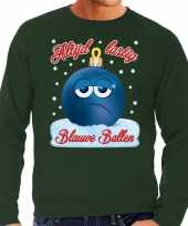 Foute kerst sweater trui blauwe ballen blue balls groen heren