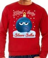 Foute kerst sweater trui blauwe ballen rood heren