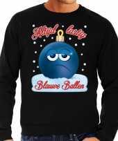 Foute kerst sweater trui blauwe ballen zwart heren