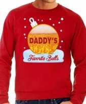 Foute kerst sweater trui daddy favorite balls bier rood heren