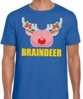 Foute kerst t shirt braindeer blauw heren