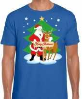 Foute kerst t shirt kerstman rendier rudolf blauw heren