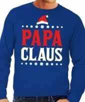 Foute kersttrui blauw papa claus heren