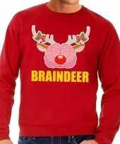 Foute kersttrui braindeer rood heren