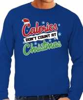 Foute kersttrui calories dont count christmas blauw heren