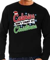 Foute kersttrui calories dont count christmas zwart heren