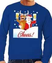 Foute kersttrui cheers dronken kerstman blauw heren
