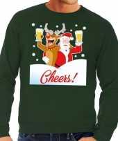Foute kersttrui cheers dronken kerstman groen heren
