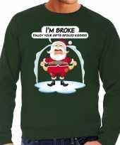 Foute kersttrui im broke enjoy your gifts groen heren