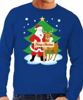 Foute kersttrui kerstman rendier rudolf blauw heren