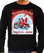 Foute kersttrui motorlief hebbers no presents zwart heren