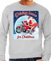 Foute kersttrui motorliefhebbers driving home grijs heren