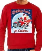 Foute kersttrui motorliefhebbers driving home rood heren